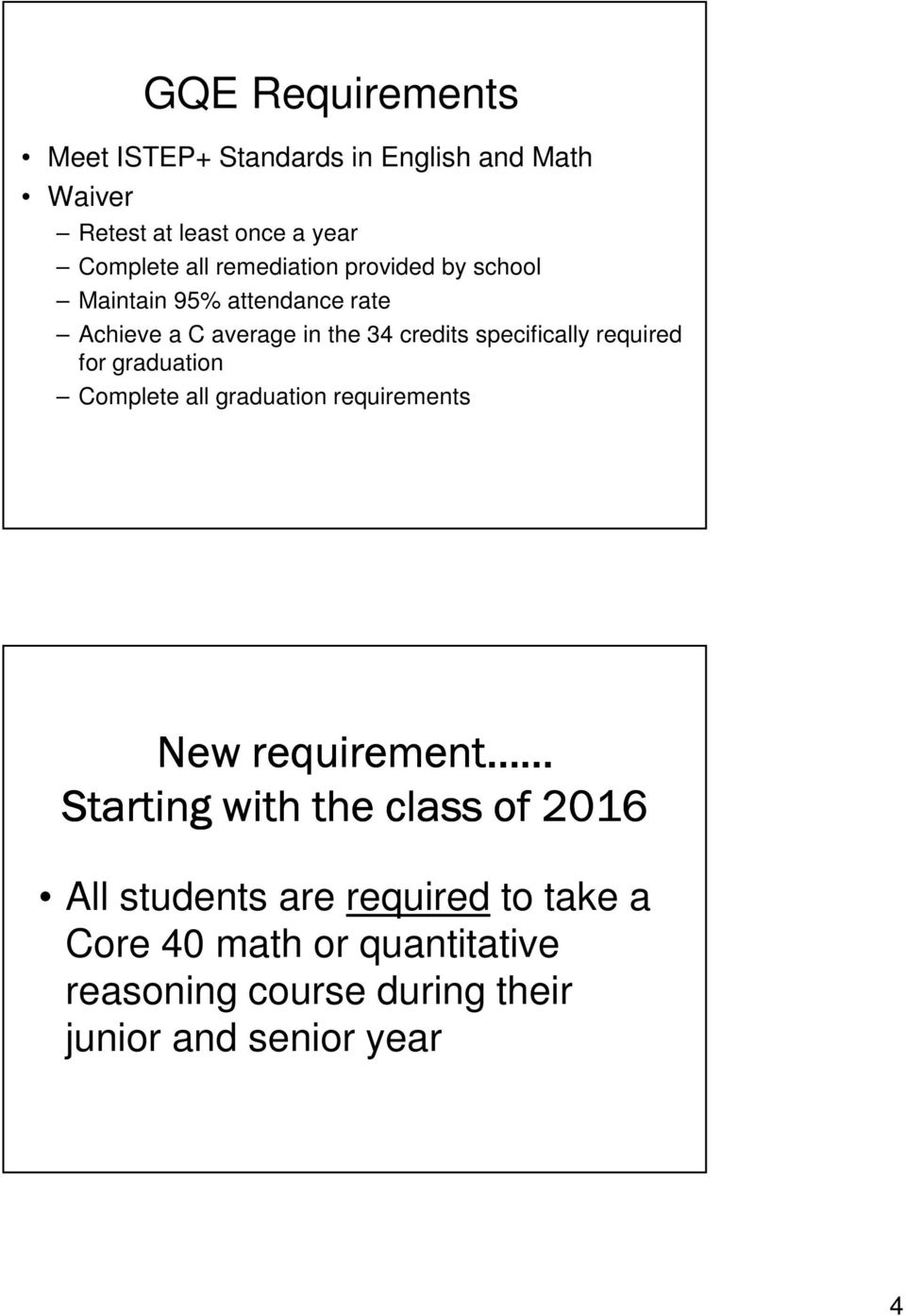 required for graduation Complete all graduation requirements New requirement Starting with the class of 2016