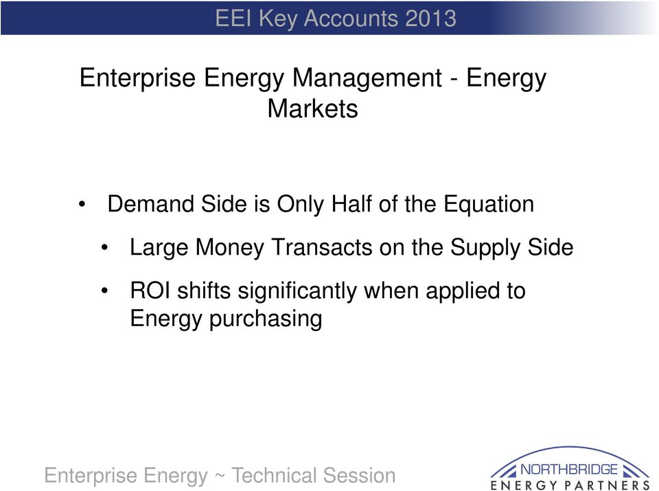 Money Transacts on the Supply Side ROI shifts