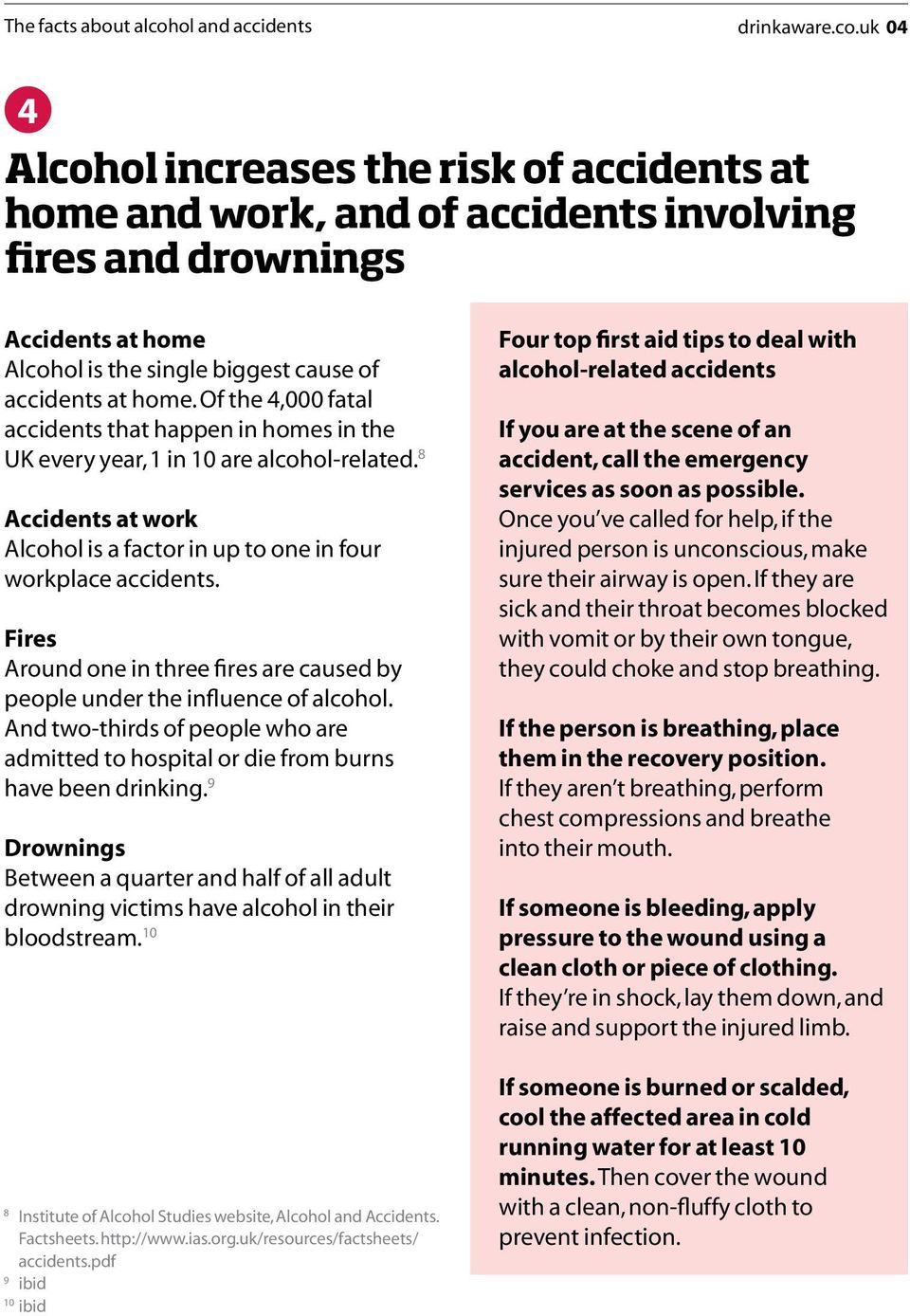 uk 04 4 Alcohol increases the risk of accidents at home and work, and of accidents involving fires and drownings Accidents at home Alcohol is the single biggest cause of accidents at home.