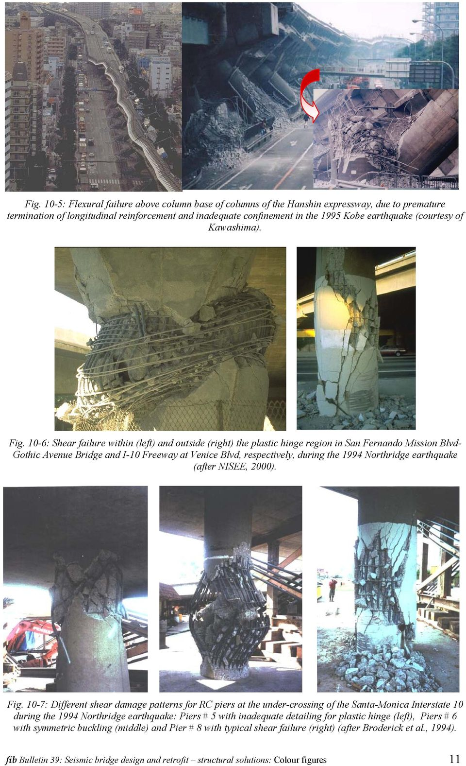 10-6: Shear failure within (left) and outside (right) the plastic hinge region in San Fernando Mission Blvd- Gothic Avenue Bridge and I-10 Freeway at Venice Blvd, respectively, during the 1994