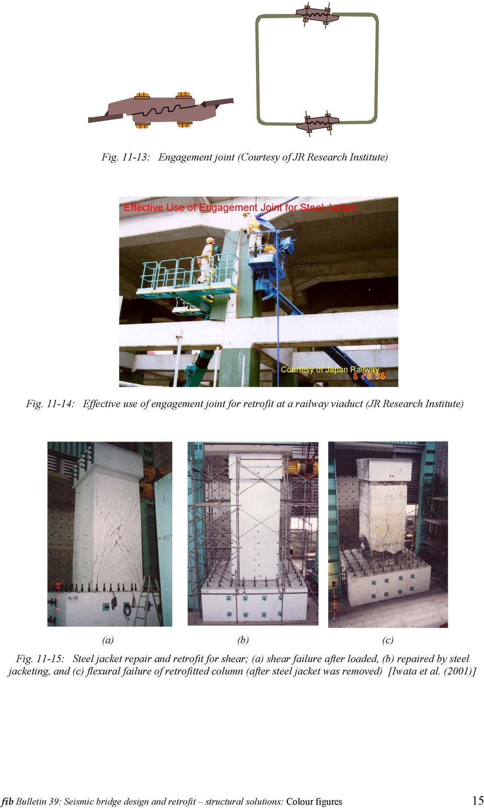 11-15: Steel jacket repair and retrofit for shear; (a) shear failure after loaded, repaired by steel jacketing, and (c) flexural failure of