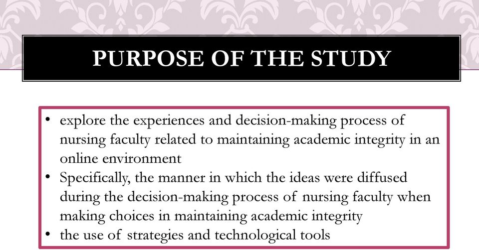 in which the ideas were diffused during the decision-making process of nursing faculty when