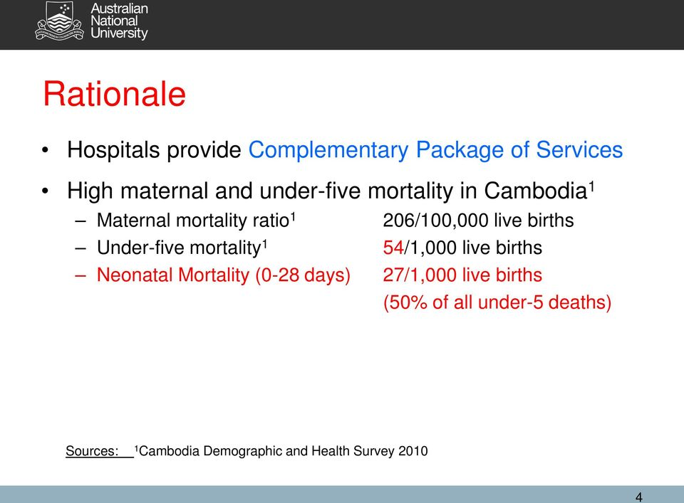 Under-five mortality 1 54/1,000 live births Neonatal Mortality (0-28 days) 27/1,000