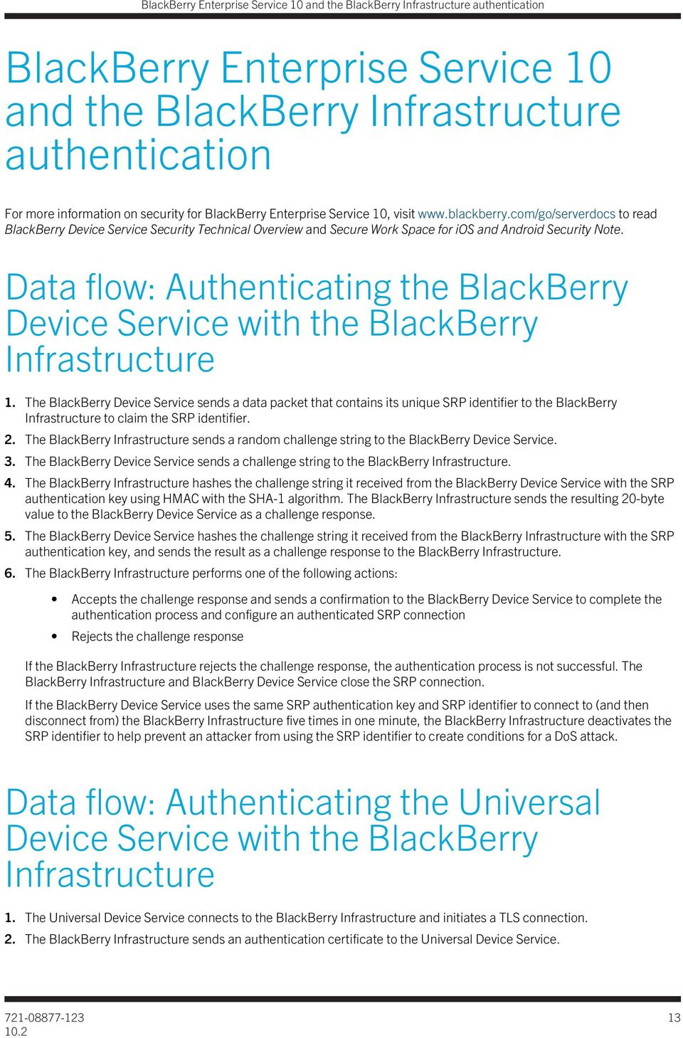 Data flow: Authenticating the BlackBerry Device Service with the BlackBerry Infrastructure 1.