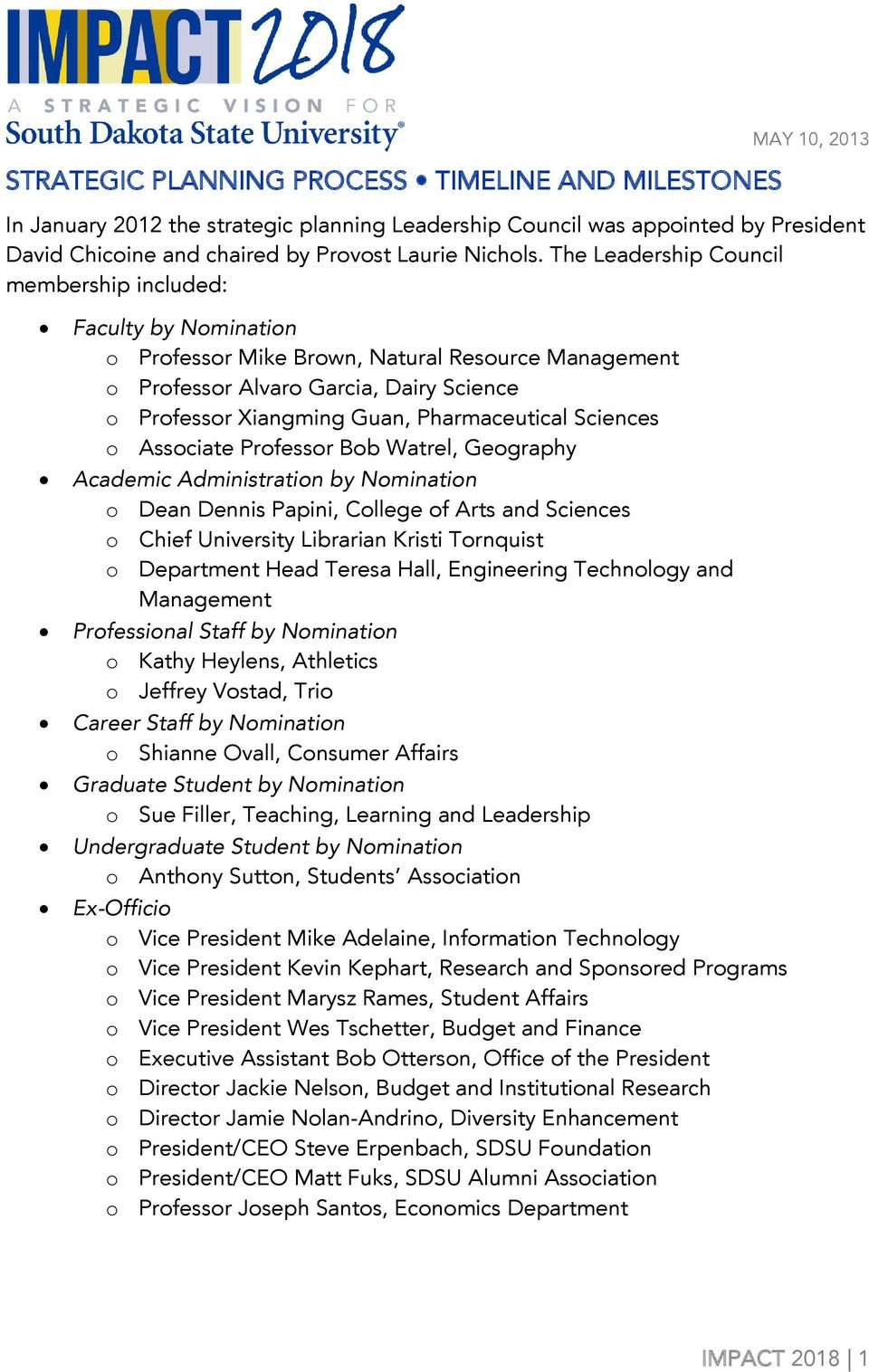 The Leadership Council membership included: Faculty by Nomination o Professor Mike Brown, Natural Resource o Professor Alvaro Garcia, Dairy Science o Professor Xiangming Guan, Pharmaceutical Sciences