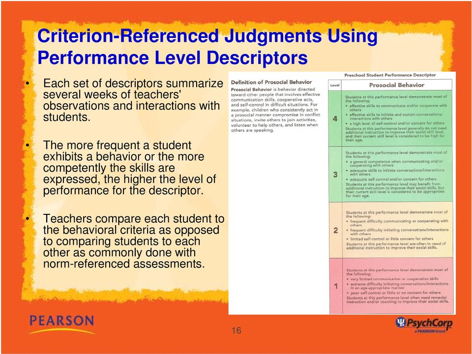 The more frequent a student exhibits a behavior or the more competently the skills are expressed, the higher the level
