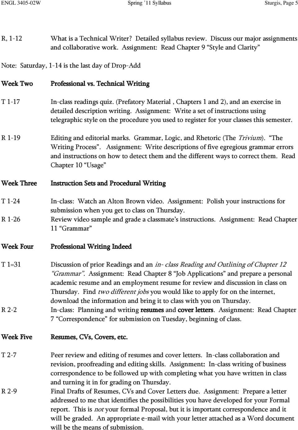 Technical Writing In-class readings quiz. (Prefatory Material, Chapters 1 and 2), and an exercise in detailed description writing.