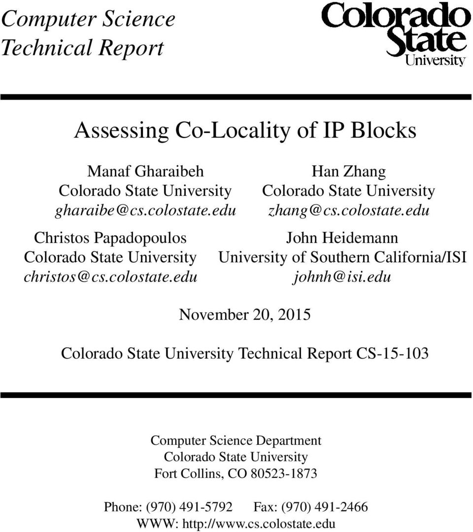 edu November 20, 2015 Colorado State University Technical Report CS-15-103 Computer Science Department Colorado State University Fort
