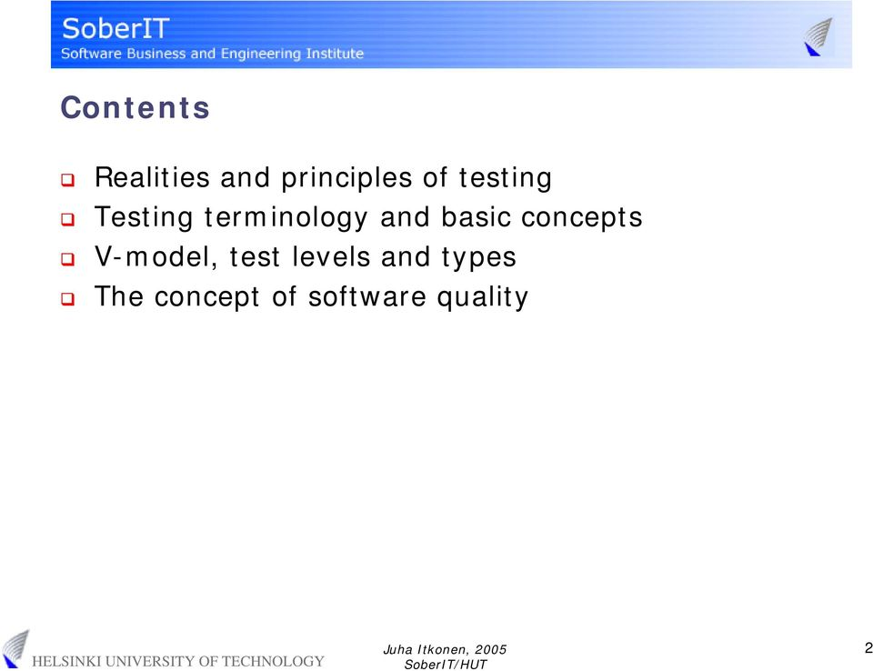 concepts V-model, test levels and