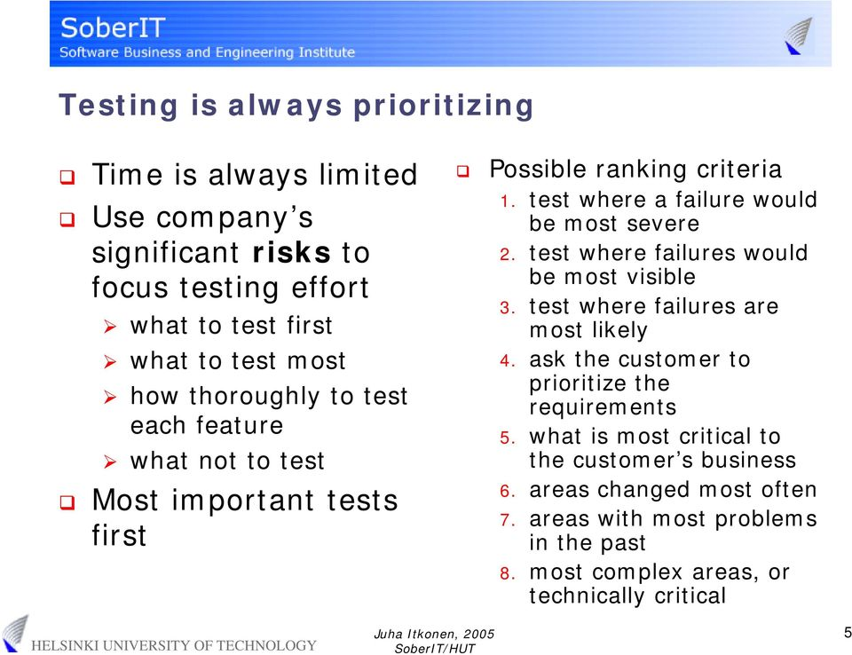 test where failures would be most visible 3. test where failures are most likely 4. ask the customer to prioritize the requirements 5.