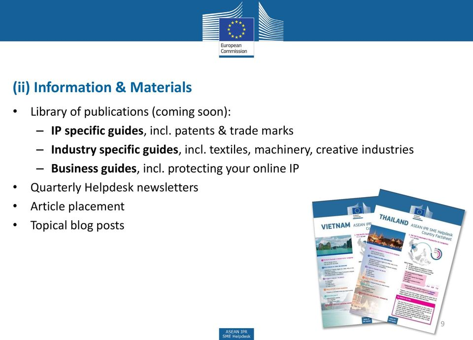 textiles, machinery, creative industries Business guides, incl.