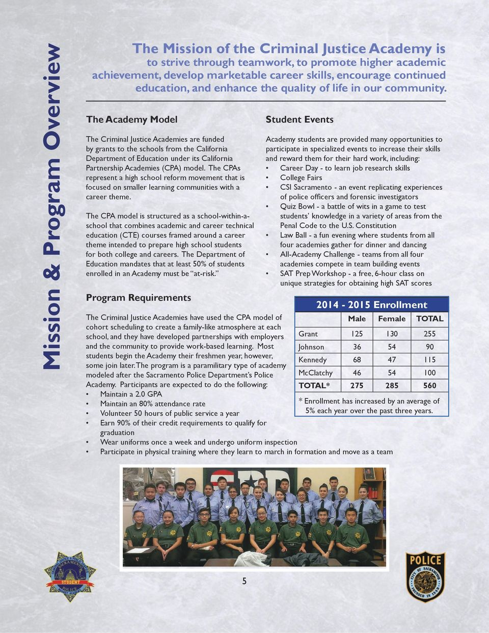 The Academy Model The Criminal Justice Academies are funded by grants to the schools from the California Department of Education under its California Partnership Academies (CPA) model.