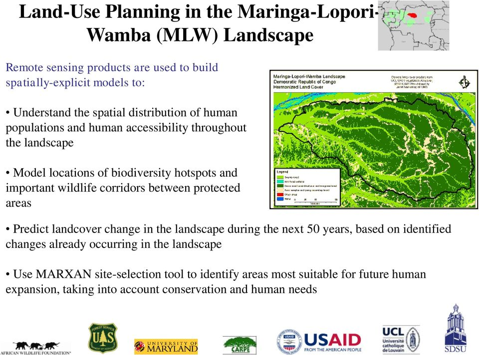wildlife corridors between protected areas Predict landcover change in the landscape during the next 50 years, based on identified changes already