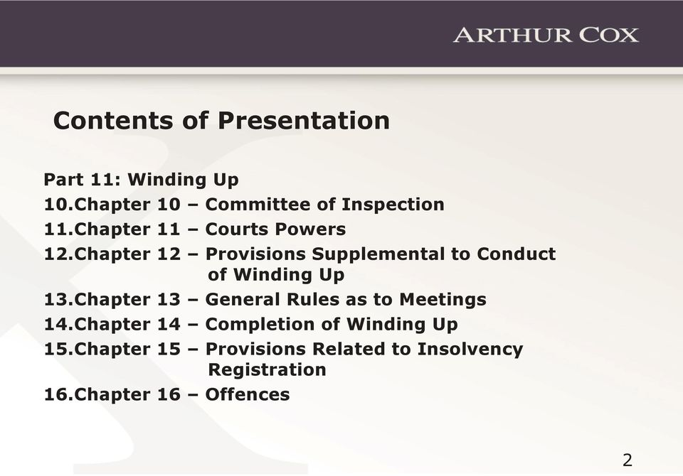Chapter 12 Provisions Supplemental to Conduct of Winding Up 13.