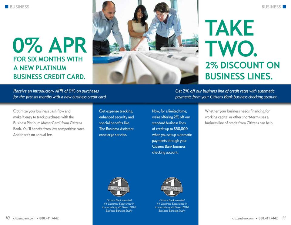 Get 2% off our business line of credit rates with automatic payments from your Citizens Bank business checking account.