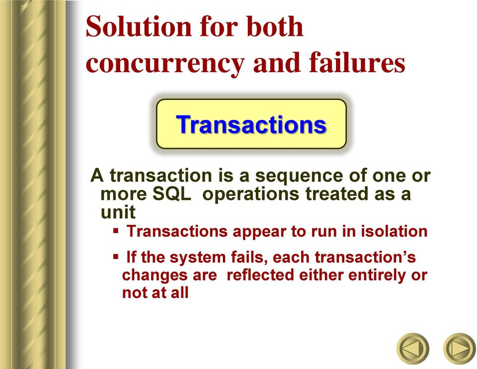 as a unit Transactions appear to run in isolation If the system
