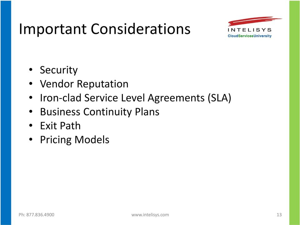 Agreements (SLA) Business Continuity