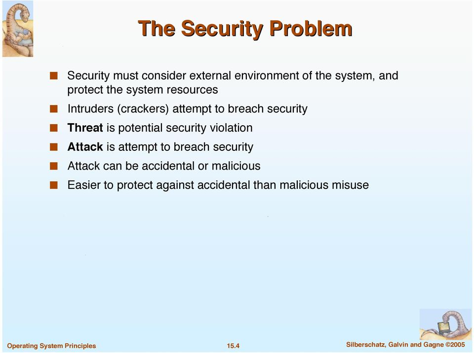 security violation Attack is attempt to breach security Attack can be accidental or malicious