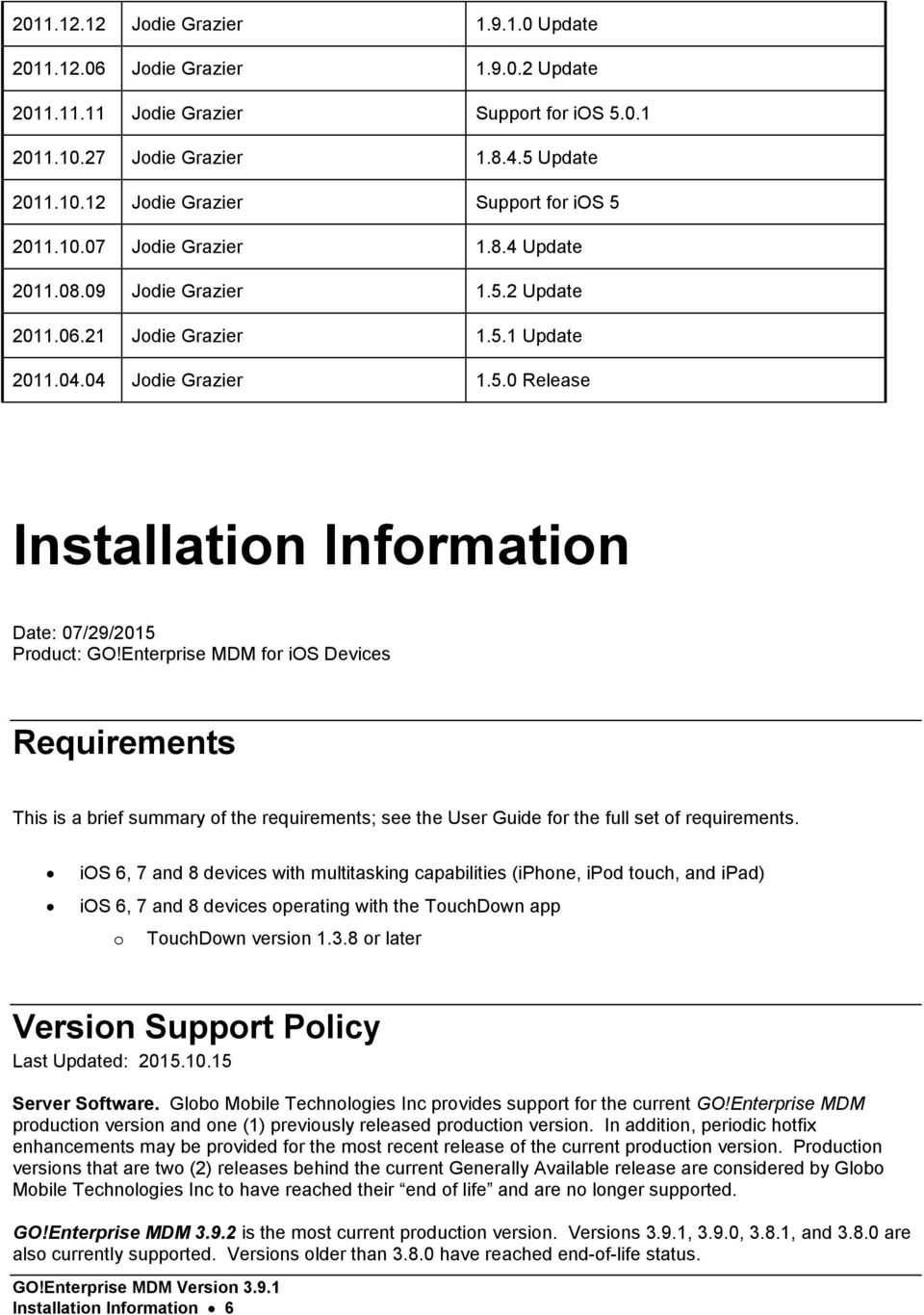 Enterprise MDM for ios Devices Requirements This is a brief summary of the requirements; see the User Guide for the full set of requirements.
