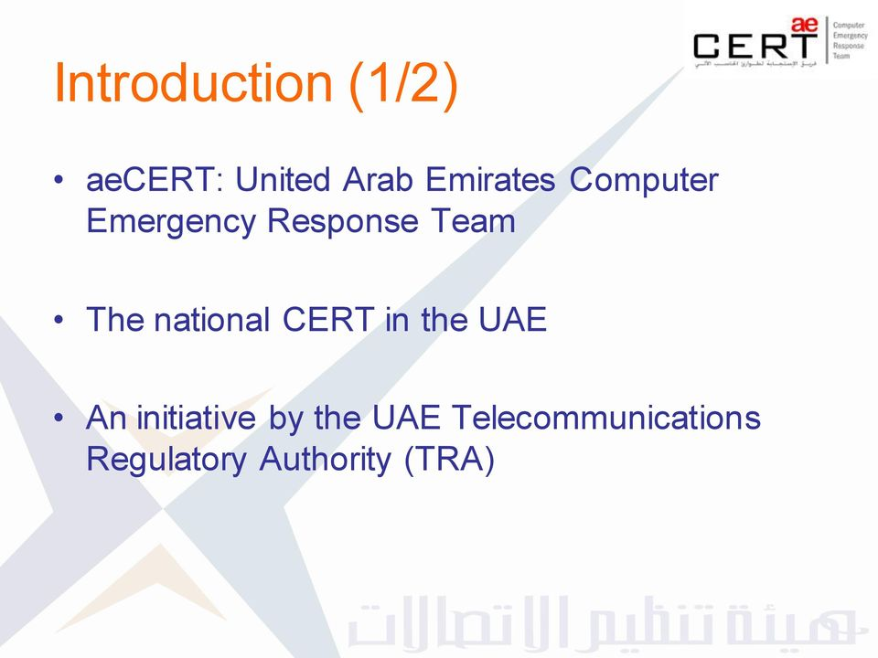 The national CERT in the UAE An initiative