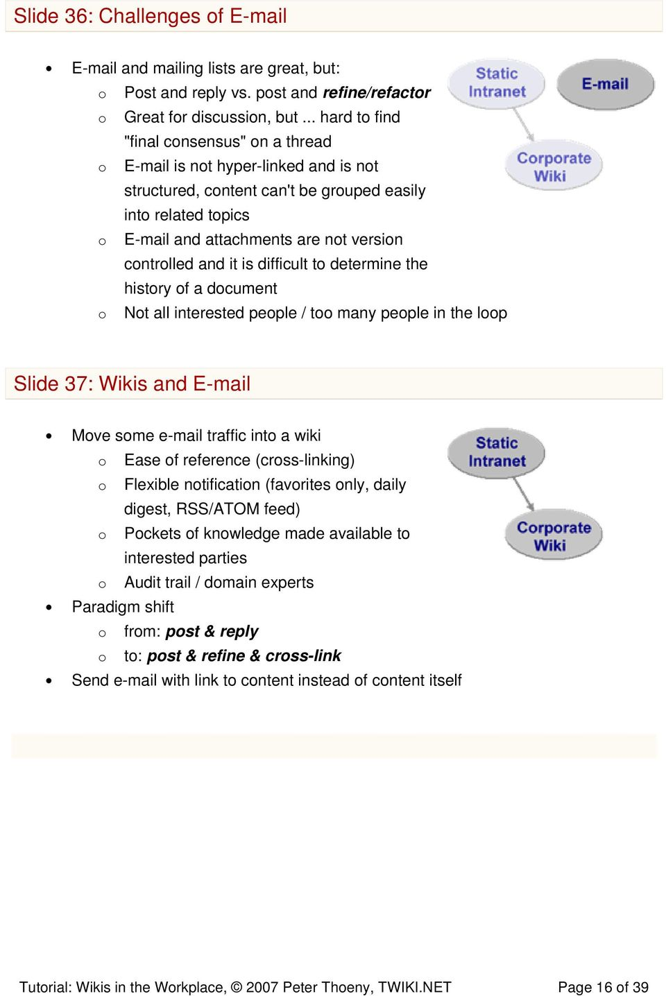 controlled and it is difficult to determine the history of a document o Not all interested people / too many people in the loop Slide 37: Wikis and E-mail Move some e-mail traffic into a wiki o Ease