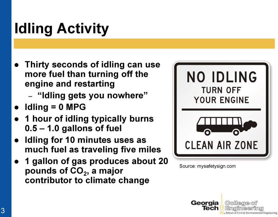 0 gallons of fuel Idling for 10 minutes uses as much fuel as traveling five miles 1 gallon of