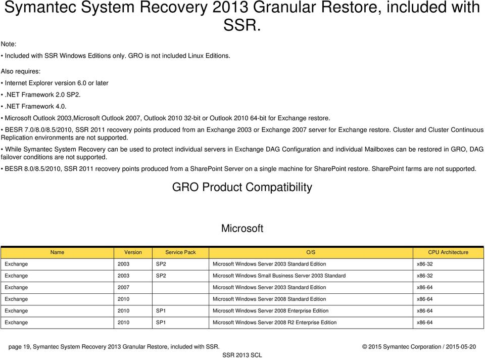 0/8.5/2010, SSR 2011 recovery points produced from an Exchange 2003 or Exchange 2007 server for Exchange restore. Cluster and Cluster Continuous Replication environments are not supported.