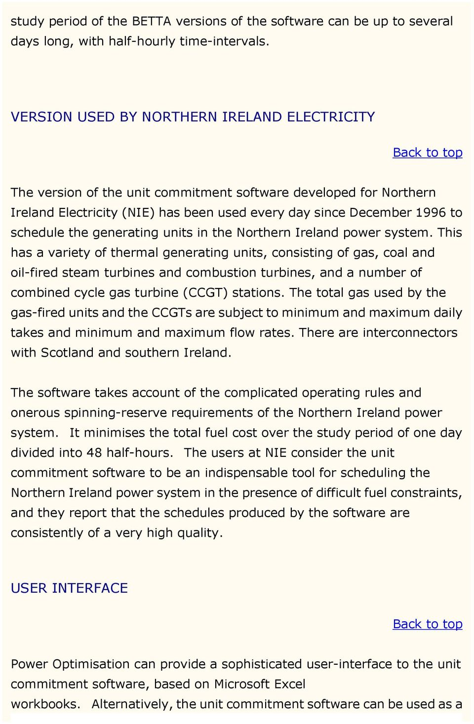generating units in the Northern Ireland power system.