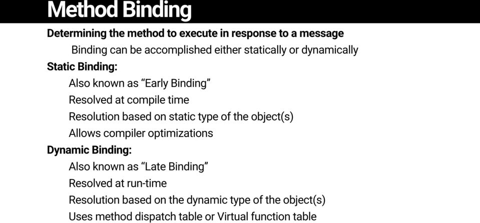 on static type of the object(s) Allows compiler optimizations Dynamic Binding: Also known as Late Binding