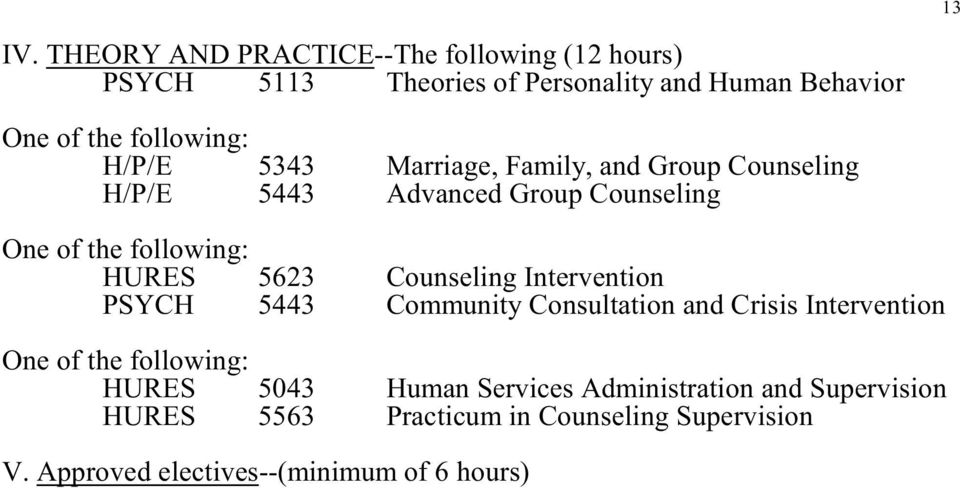 H/P/E H/P/E 5343 5443 Marriage, Family, and Group Counseling Advanced Group Counseling One of the following: HURES PSYCH