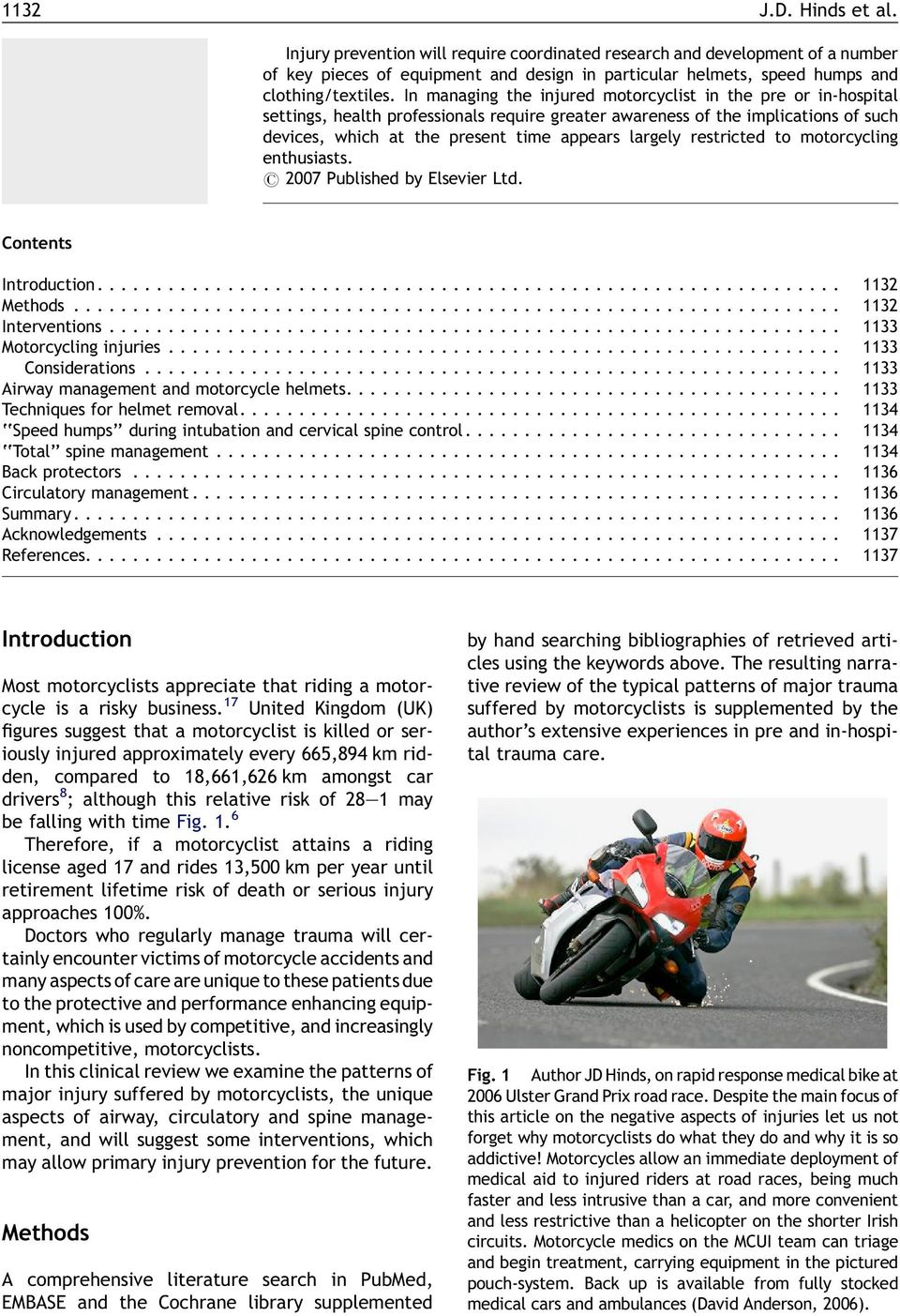 restricted to motorcycling enthusiasts. # 2007 Published by Elsevier Ltd. Contents Introduction............................................................... 1132 Methods................................................................. 1132 Interventions.