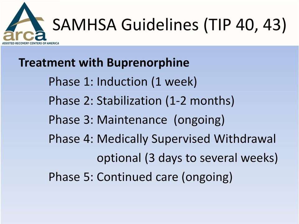 3: Maintenance (ongoing) Phase 4: Medically Supervised Withdrawal