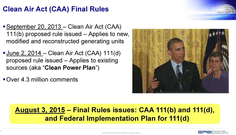 proposed rule issued Applies to existing sources (aka Clean Power Plan ) Over 4.