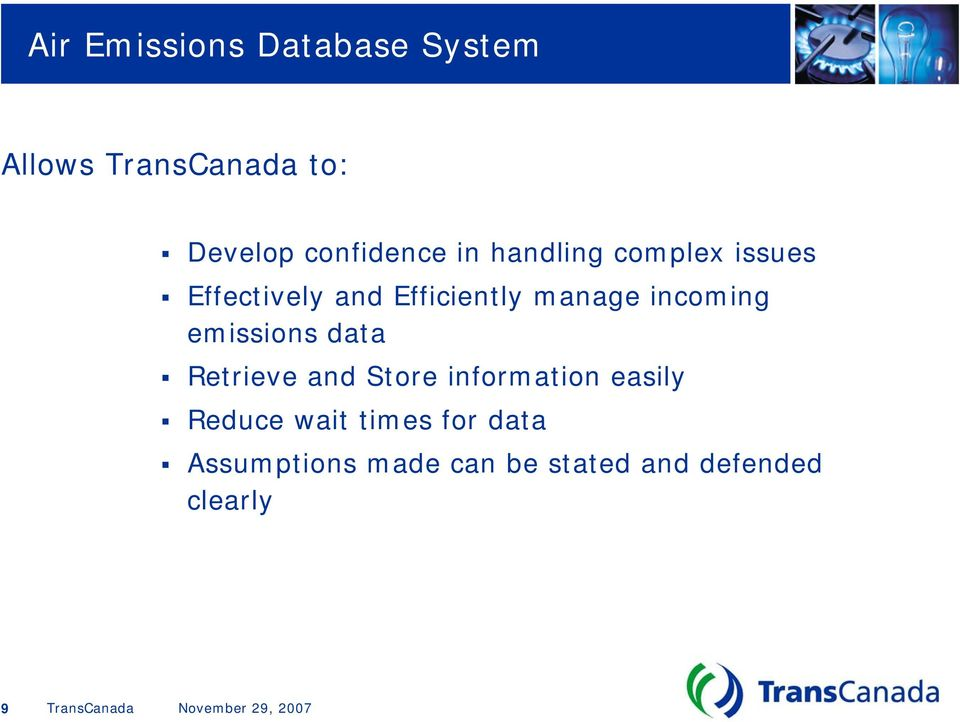incoming emissions data Retrieve and Store information easily
