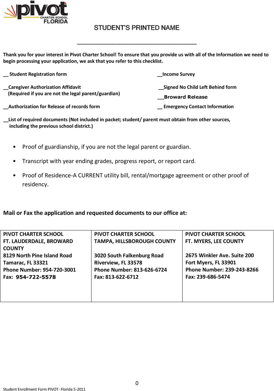 Student Registration form Caregiver Authorization Affidavit (Required if you are not the legal parent/guardian) Authorization for Release of records form Income Survey Signed No Child Left Behind