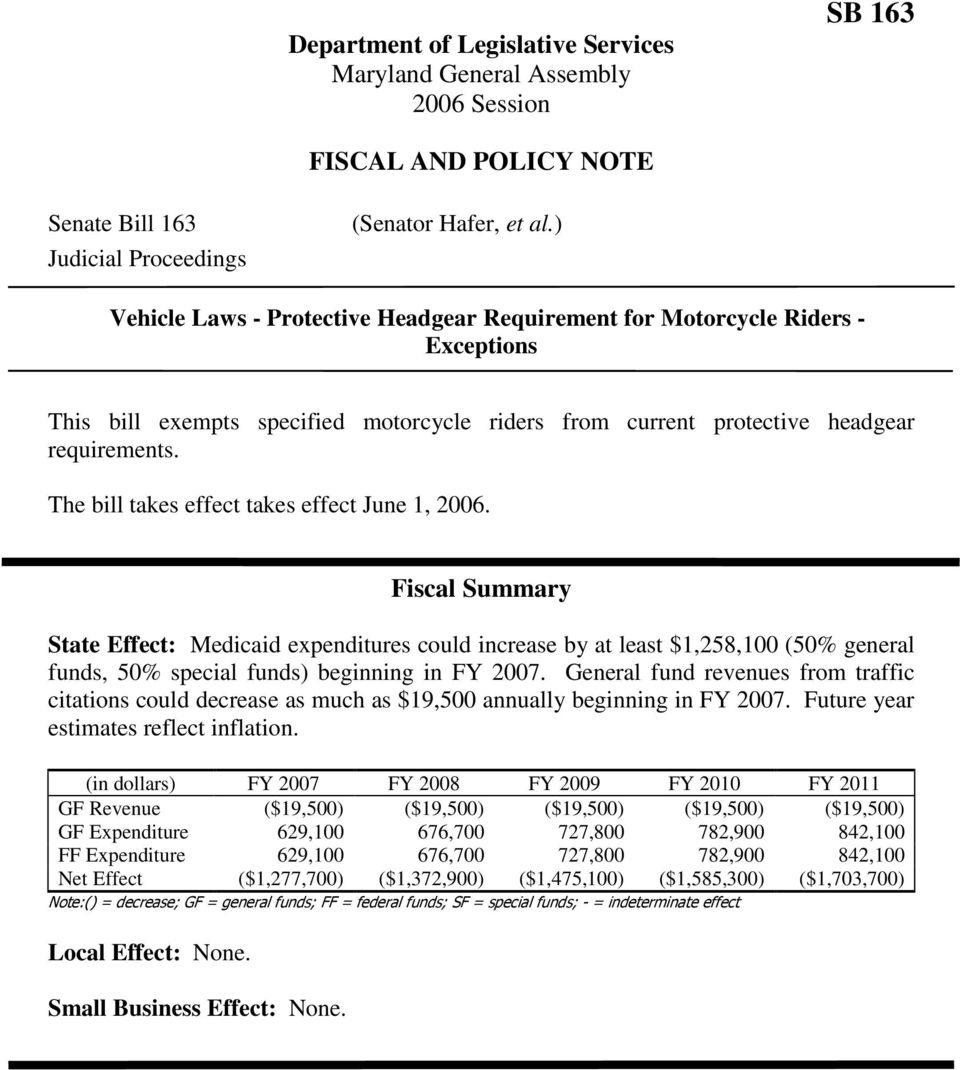 The bill takes effect takes effect June 1, 2006. Fiscal Summary State Effect: Medicaid expenditures could increase by at least $1,258,100 (50% general funds, 50% special funds) beginning in FY 2007.