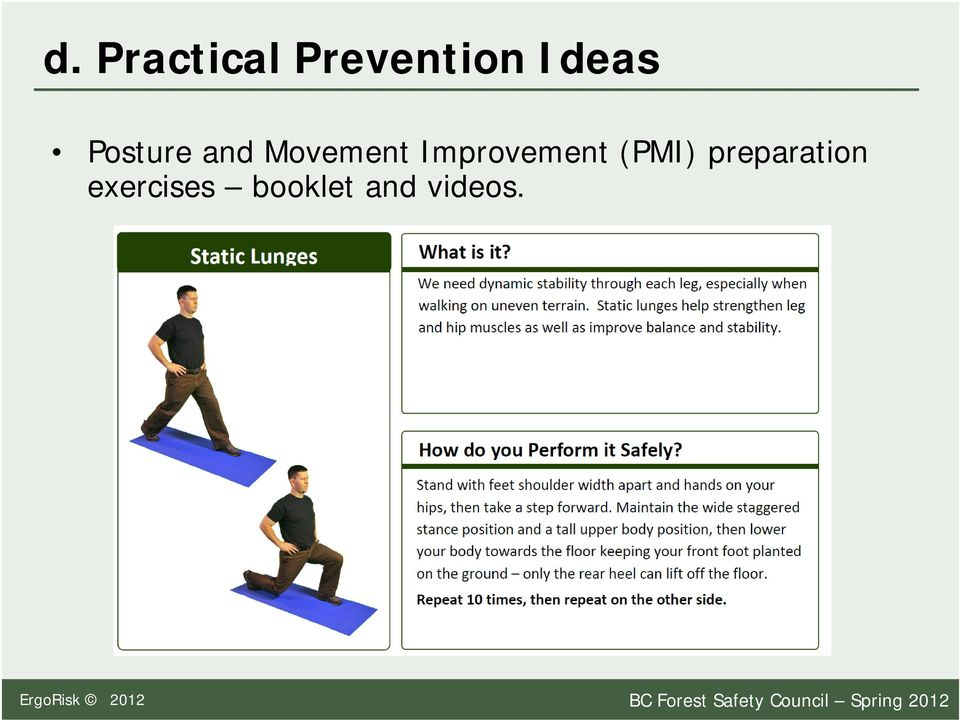 preparation exercises booklet and videos.