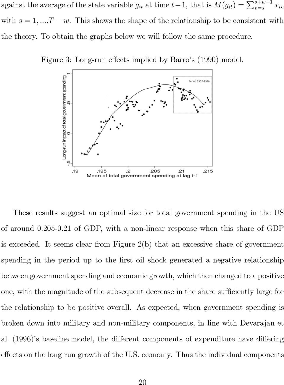 These results suggest an optimal size for total government spending in the US of around 0:205-0:21 of GDP, with a non-linear response when this share of GDP is exceeded.