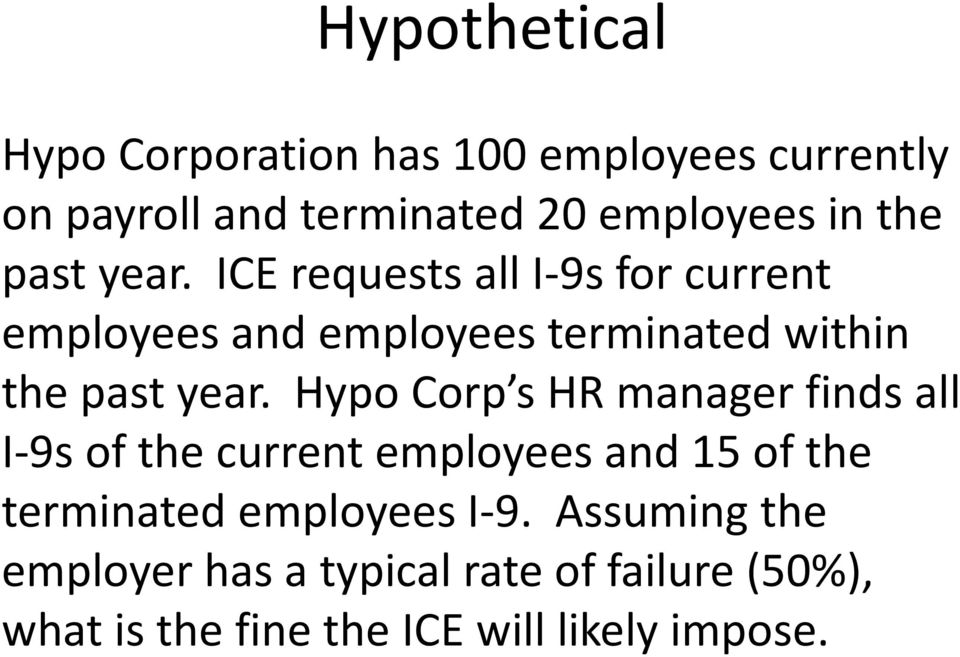 ICE requests all I-9s for current employees and employees terminated within  Hypo Corp s HR manager