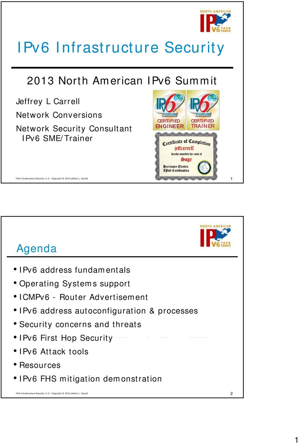 support ICMPv6 - Router Advertisement IPv6 address autoconfiguration & processes Security concerns