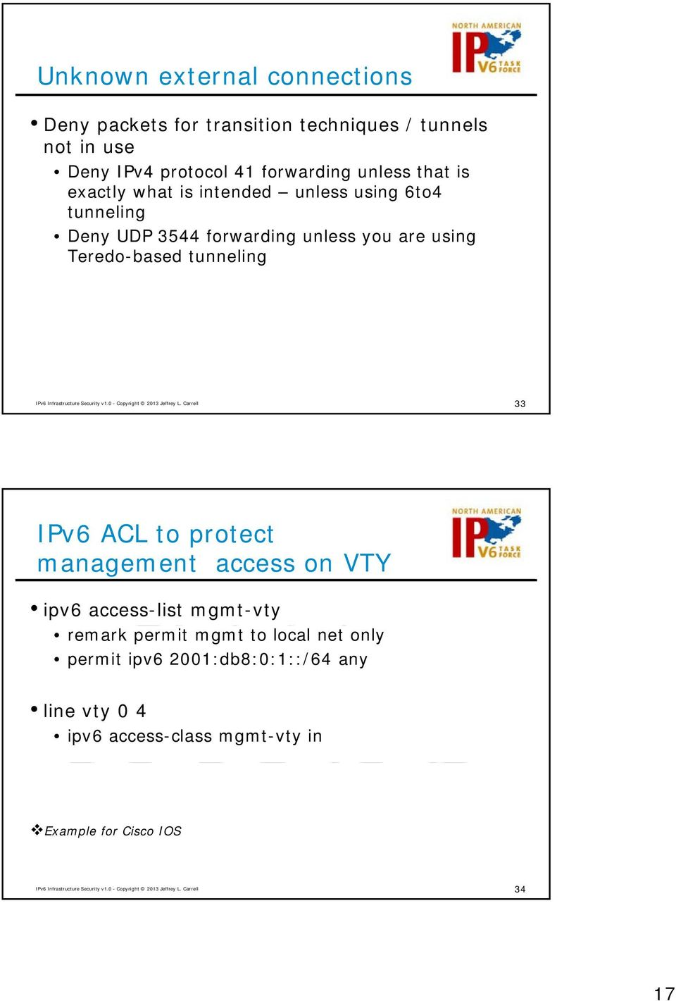 using Teredo-based tunneling 33 IPv6 ACL to protect management access on VTY ipv6 access-list mgmt-vty remark permit