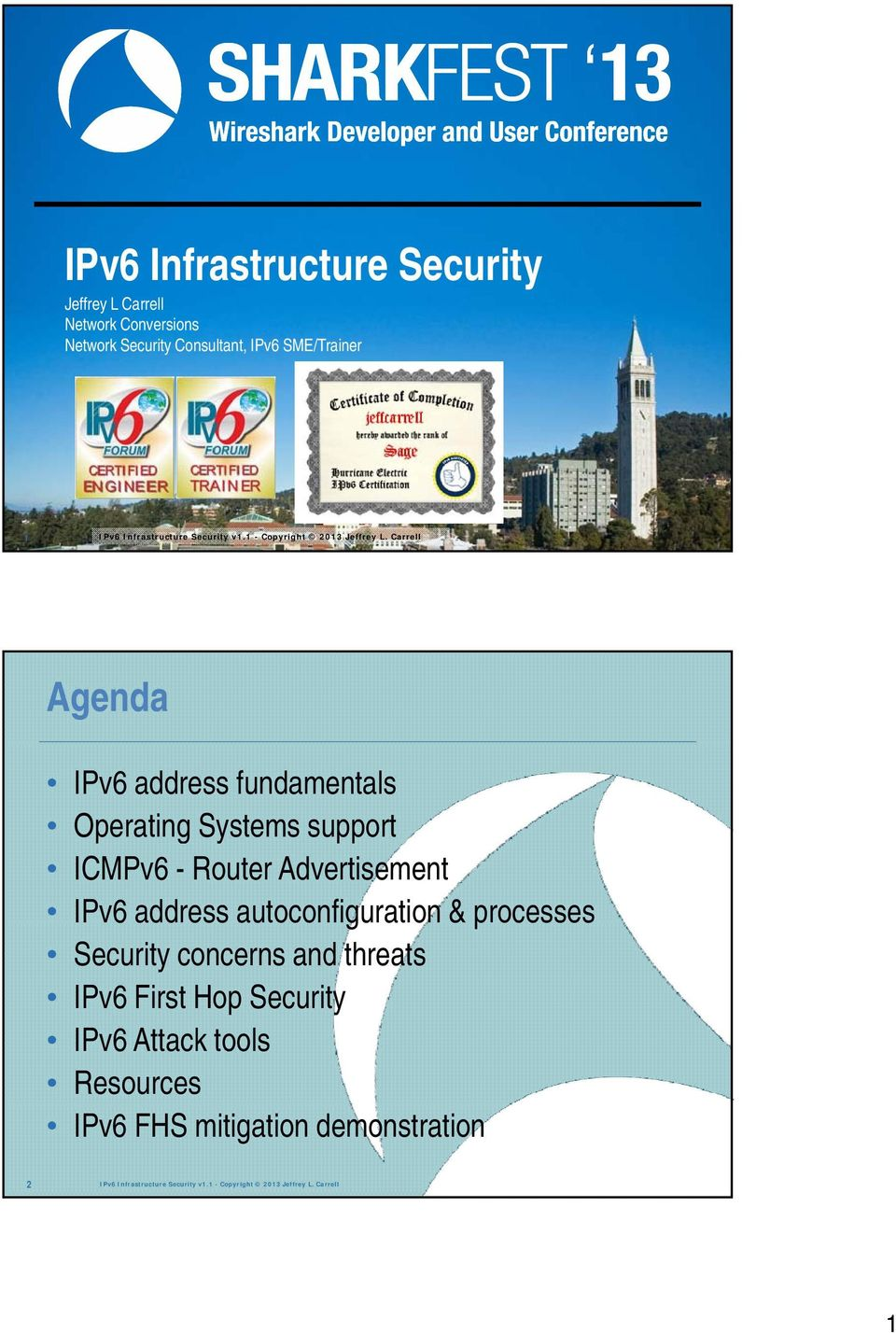 Carrell Agenda IPv6 address fundamentals Operating Systems support ICMPv6 - Router Advertisement IPv6 address