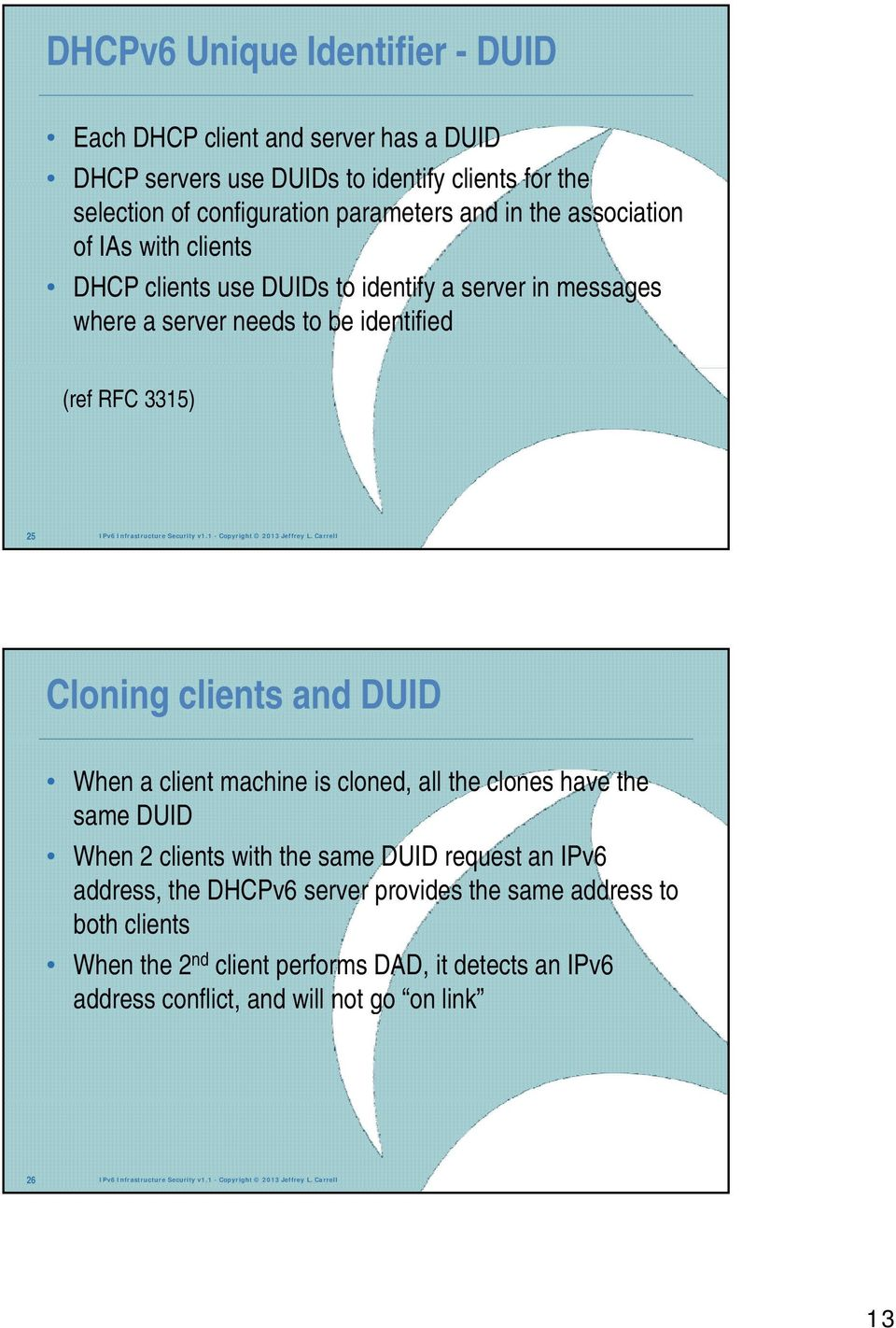Carrell Cloning clients and DUID When a client machine is cloned, all the clones have the same DUID When 2 clients with the same DUID request an IPv6 address, the server provides the same