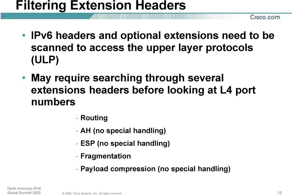 extensions headers before looking at L4 port numbers - Routing - AH (no special