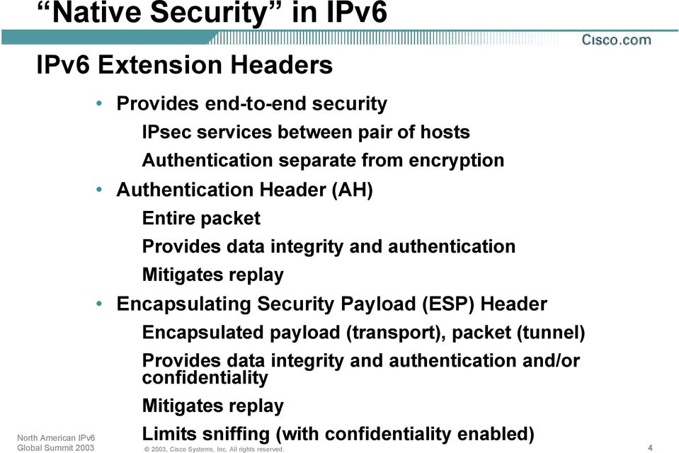 authentication Mitigates replay Encapsulating Security Payload (ESP) Header Encapsulated payload (transport), packet
