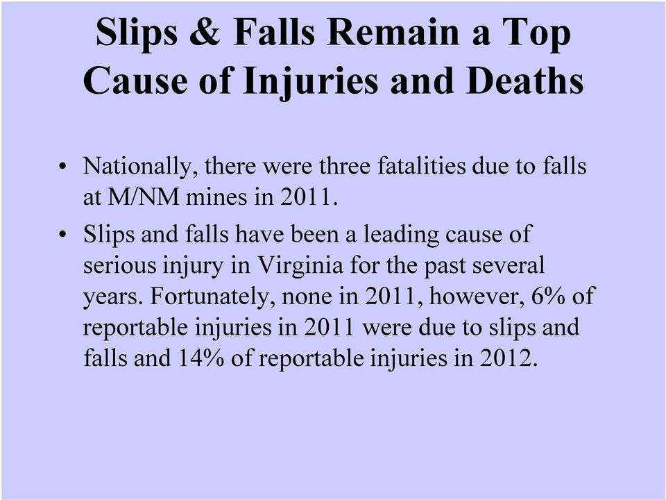 Slips and falls have been a leading cause of serious injury in Virginia for the past several