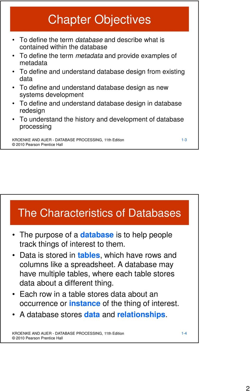 database processing 1-3 The Characteristics of Databases The purpose of a database is to help people track things of interest to them.