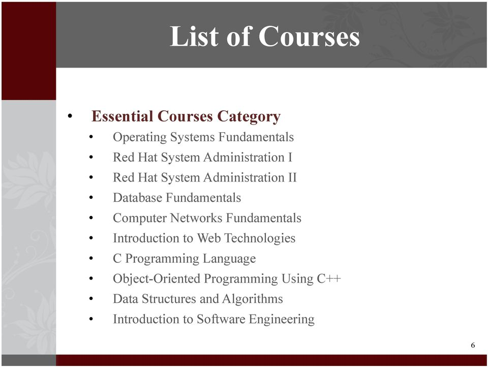 Networks Fundamentals Introduction to Web Technologies C Programming Language