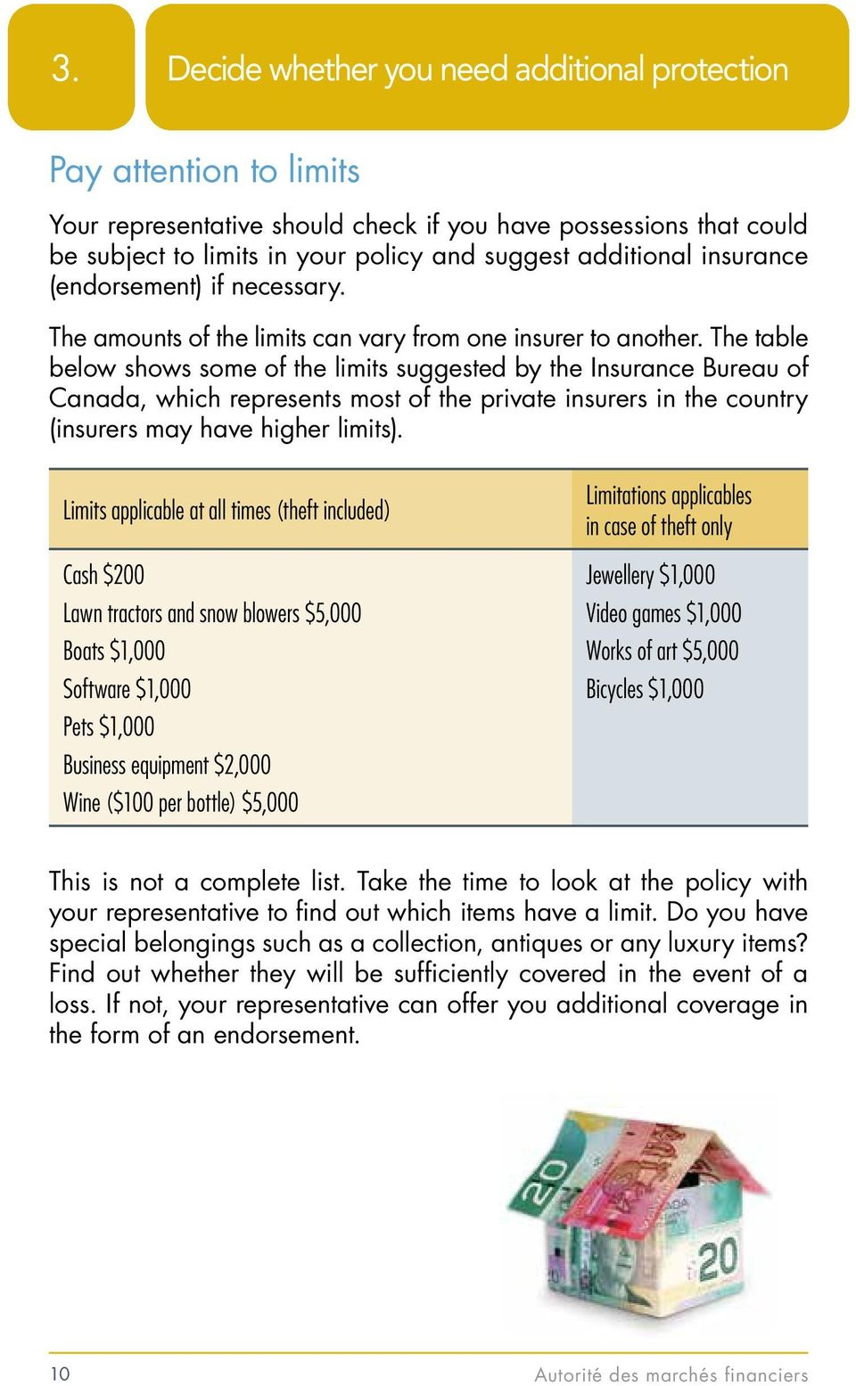 The table below shows some of the limits suggested by the Insurance Bureau of Canada, which represents most of the private insurers in the country (insurers may have higher limits).