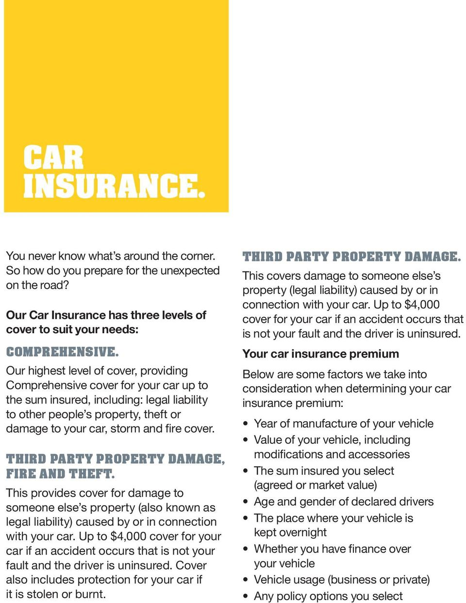 THIRD PARTY PROPERTY DAMAGE, FIRE AND THEFT. This provides cover for damage to someone else s property (also known as legal liability) caused by or in connection with your car.